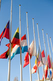 Half-mast flags of all the European Union after Paris. Half-mast flags in tribute to the victims of the attacks in Paris, which left at least 129 people dead in Stock Image