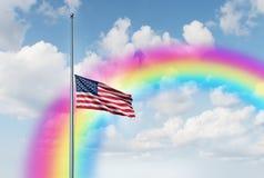 Half Mast Hope Rainbow Stock Images