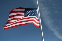 Half Mast. Half-masted America flag.  Freedom is not free Stock Images