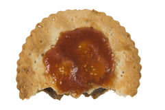 Half a meat pie with sauce Royalty Free Stock Image