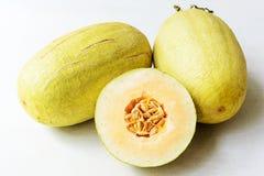 Half of melon, tilt shift lens Stock Photo