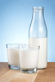 Half Milk bottle and two glass is wooden table Stock Photos