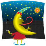 Half Moon. The stylized image of a cartoon crescent moon in the night sky Stock Photo