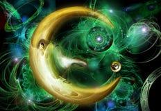 Half-moon. On a background green nebula Stock Image