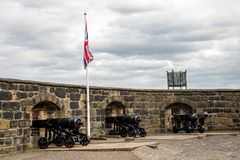Half Moon Battery cannons in Edinburgh Castle. Scotland stock images
