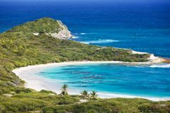 Half Moon Bay, Antigua. The beautiful Half Moon Bay in Antigua seen from above royalty free stock images