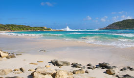 Half Moon Bay Atlantic Ocean coast - Caribbean tropical island - Antigua and Barbuda Stock Photo