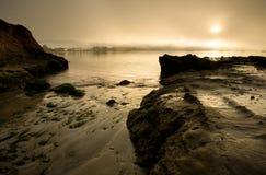 Half Moon Bay at dawn. View of Half Moon Bay at dawn, with sailboats Royalty Free Stock Photos