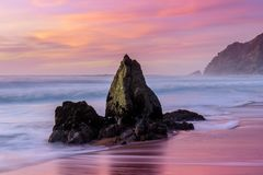 Dusk over Gray Whale Cove State Beach. Stock Image