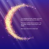 Half of the moon from gold glittering star dust on a colored background. Golden symbol for for flyer, poster or banner. Template with texture for your design Royalty Free Stock Photo
