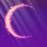 Half of the moon from gold glittering star dust on a colored background. Golden symbol for for flyer, poster or banner. Template with texture for your design Stock Photo