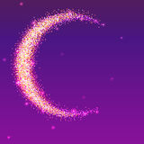 Half of the moon from gold glittering star dust on a colored background. Golden symbol for for flyer, poster or banner. Template with texture for your design Stock Images