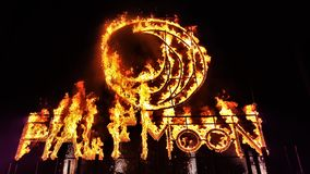 Half moon party from Koh Phangan thailand. Fire letters from the half moon party from Koh Phangan, Thailand. It`s the biggest party in Southeast Asia royalty free stock images