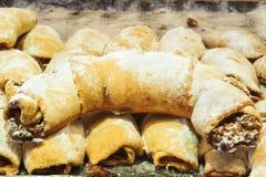 Half moon savory pastry with powdered sugar Turkish ay coregi Stock Photos