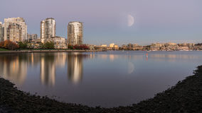 Half moon with city views Royalty Free Stock Images