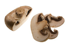 Half mushroom and slices Royalty Free Stock Images