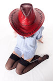 Half-naked girl in a cowboy hat Stock Photo