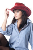 Half-naked girl in a cowboy hat. Royalty Free Stock Photos