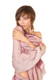 Half-naked girl with a shawl Royalty Free Stock Photos