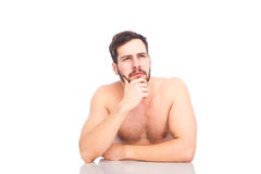 Half-naked man thinking Stock Photo
