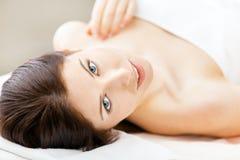 Half-naked woman lying royalty free stock photos