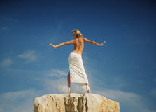 Half naked woman showing her back Royalty Free Stock Image