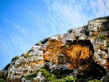 Half of nature. The blue sky and scenery rock (Menorca Island, Spain Stock Photo