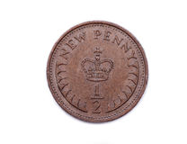 Half a new penny sterling dated 1971 Stock Photo