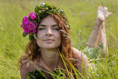 Half nude young sexy girl in the field Royalty Free Stock Photography