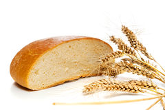 Half Of Bread Loaf And Wheat Spikes, Isolated Royalty Free Stock Image