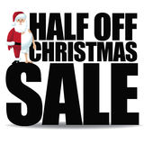 Half off Christmas sale with small half dressed santa Royalty Free Stock Photos