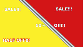 Half Off Store Sale Banner Display Poster Red Yellow stock illustration