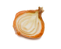 Half of onion. A half of faded onion. Isolated on white Royalty Free Stock Images