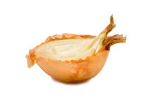 Half of onion. A half of faded onion. Isolated on white background Stock Images