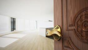 Half open apartment door opening to empty room. 3D illustration.  royalty free illustration