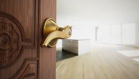 Half open apartment door opening to empty room. 3D illustration.  vector illustration