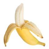 Half open banana isolated. On white background Royalty Free Stock Photo
