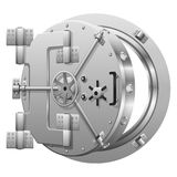 Half-open bank vault door on white Royalty Free Stock Images