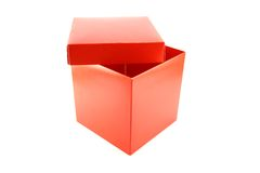 Half open box. Half open red box isolated Royalty Free Stock Photography