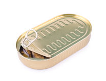 Half open can of sprats. A half open oval can of sprats in oil, clipping path Royalty Free Stock Image