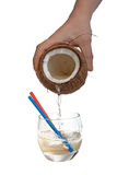 Half open coconut in male hands. With clipping path Royalty Free Stock Photo