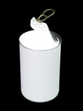 Glowing food can. Half open food can with with blank white label and internal lighting isolated on black Stock Photo