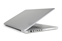Half Open metallic Laptop from Sideview Stock Photos