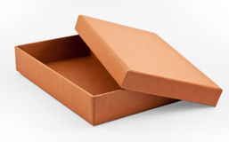 A half open paper box in brown color Royalty Free Stock Image