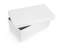 Half-open shoe box on white. Half-open shoe box isolated on white with clipping path Royalty Free Stock Images