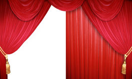 Half open stage. Red curtain of a classical theater Royalty Free Stock Photos