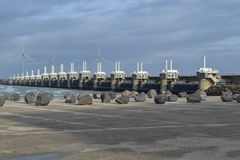 Half open weir at the Dutch coast Royalty Free Stock Photography