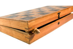 Half-open wooden chessboard Stock Photos