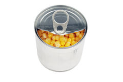Half opened corn can Stock Images