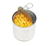 Half opened corn can Royalty Free Stock Photo